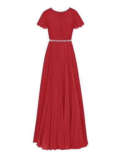 Dresstells Robe de cérémonie Robe de demoiselle d'honneur en mousseline manches courtes longueur ras du sol Rouge Foncé
