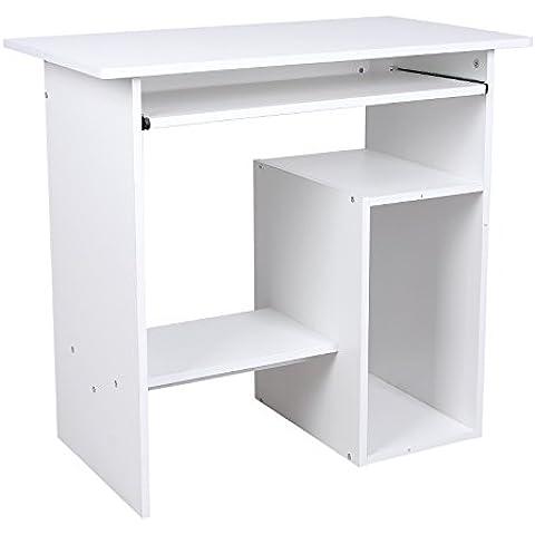 Songmics Escritorio de la Computadora Mesas de Ordenador Portateclado Ordenador Mobiliario de Oficina, 80 x 45 x 74cm, Blanco, LCD852W