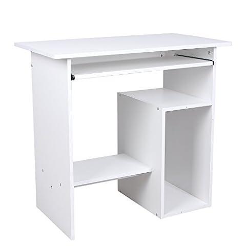 Songmics Computertisch mit Tastaturauszug 3 Regale 80 x 45 x 74 cm PC Tisch für Ihren Arbeitsplatz zu Hause oder im Büro weiß