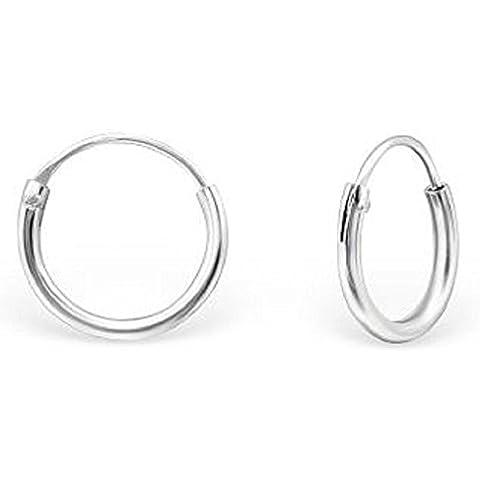 Unbespielt orecchini gioielli in argento 925 Hoops