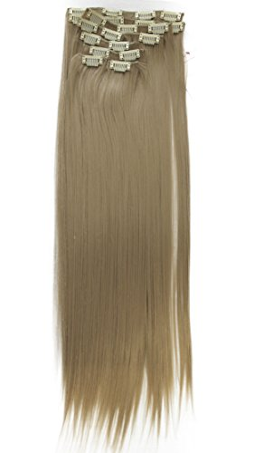 7-teilig SET Clip In Extensions 16 Clips 60cm & 120 Gramm diverse Farbe (blond (Farbton 24))