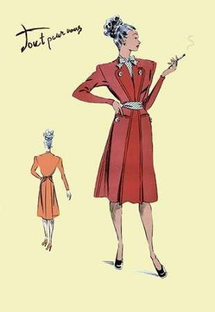 Feelingathome-Leinwand-Bild-Jacke-Kleid,-1947-cm50x33-Kunstdruck-auf-Leinwand