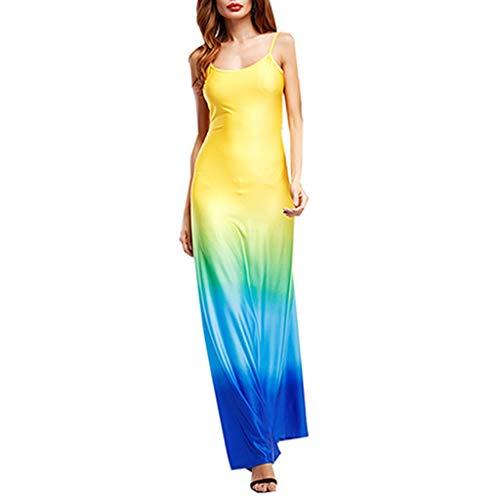 MMOOVV Frau Large Size Kleid Sexy Fashion Gradient Ribbon Langer Rock Casual Cocktail Trägerloses Kleid (Blau 5XL)