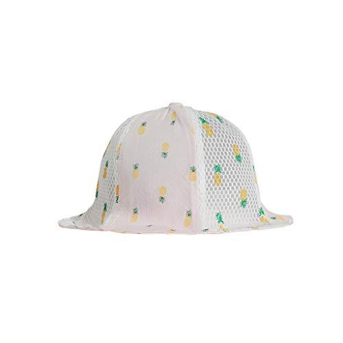 SoundJA Hut Mütze Tropenhelm für Kinder Ananas-Print Wild Lässig doppelseitige Fischerhut Frühling und Sommermütze Hut Visier (Rosa)