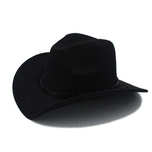 DaYiYang Vaquera Jazz Church Cap con cuero Toca Sombrero Cap Retro lana mujeres hombres Western Cowboy Hat para caballero ( Color : 1 , Size : 57-58CM )