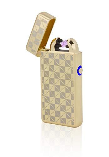 TESLA Lighter T08 Lichtbogen Feuerzeug, Plasma Double-Arc, elektronisch wiederaufladbar, aufladbar mit Strom per USB, ohne Gas und Benzin, mit Ladekabel, in Edler Geschenkverpackung, Gold kariert