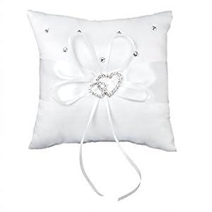 Jooks Hochzeit Ringkissen Weiß Doppel Herz Kristall Strass Ringkissen Schöne Elfenbein Bud Blume Hochzeit 15cmx15cm