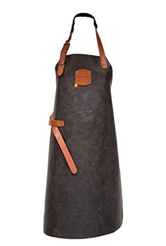 Xapron Lederschürze aus 100% Handarbeit im Stil Antique lang, Braun 82cm