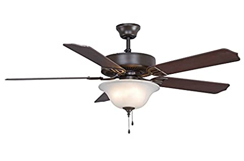 Fanimation BP225OB-220 52-Inch Aire Decor Builder 5-Blade Ceiling Fan with 220-Volt Bowl Light Kit, Oil Rubbed Bronze