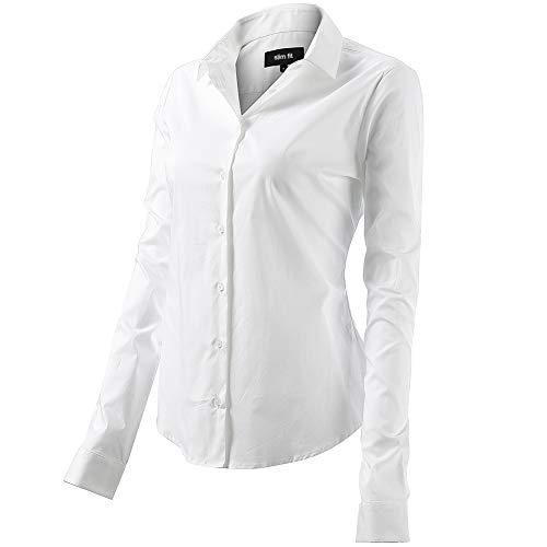 Camicia Basic da Donna Cotone Manica Lunga Camicetta Casual Blusa Chiusura Bottoni Slim Formale Elegante Camicia Shirt con Colletto Dritto Ideale per