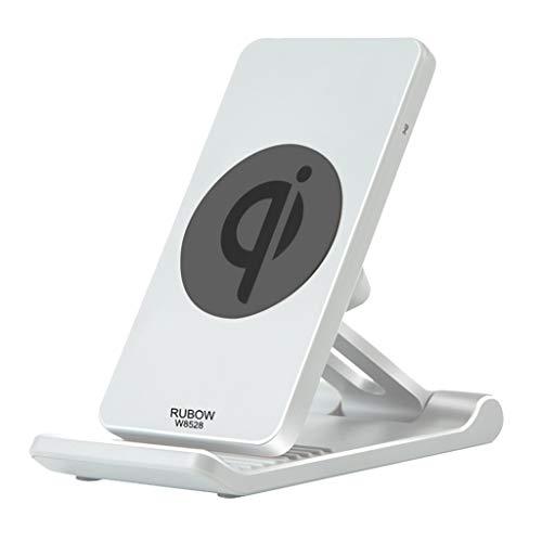 TIREOW Qi Fast Wireless Charger Ladegerät Schnurloses Ladestation Kabellos Laden Justierbarer Faltender Aufladender Telefon GPS Halter Standplatz für Samsung (Weiß) (Tv Rack Samsung)