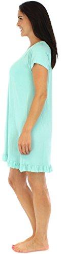 bSoft Robes de chambre femme vêtement de nuit manches courtes jersey bambou Solide Sarcelle