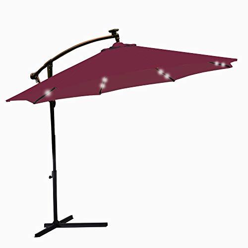 Surun ombrello da giardino 3m con luci a led, impermeabile, ombrellone a sbalzo per patio, pieghevole, inclinabile, manovella per patio e spiaggia, per giorno e notte