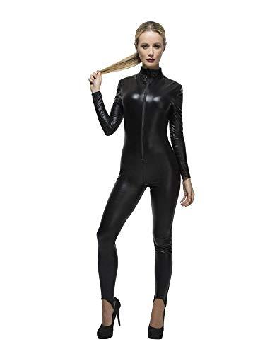 shoperama Schwarzer Damen Catsuit Wetlook Polizistin Katze Catwoman Overall Kinky sexy Lack Leder, Größe:M