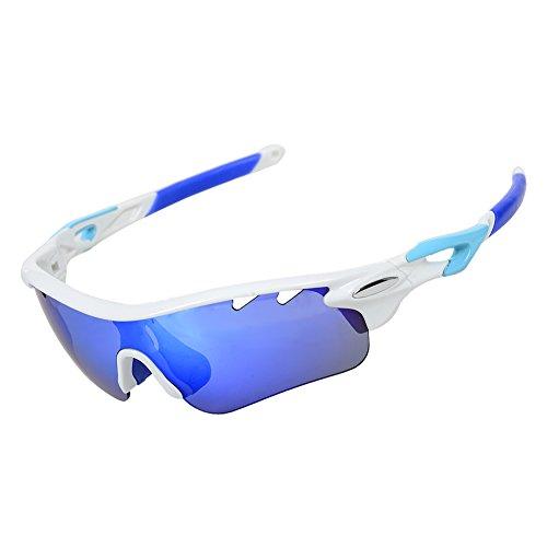 Valorcielo, occhiali da sole sportivi polarizzati, occhiali protettivi con 5lenti intercambiabili, protezione uv 400, per ciclismo, camping, guida, pesca, corsa, golf, attività all'aperto, unisex, blue