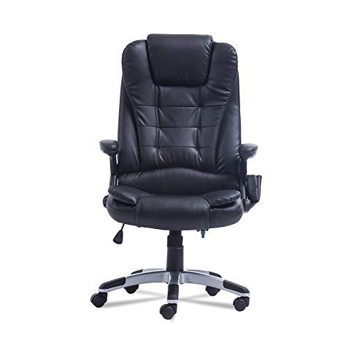Panamami 360-Grad-Drehung Home-Office-Computer Schreibtisch Executive Ergonomische Höhenverstellbare 6-Punkt-Wireless-Game-Massage-Stuhl-Schwarz -