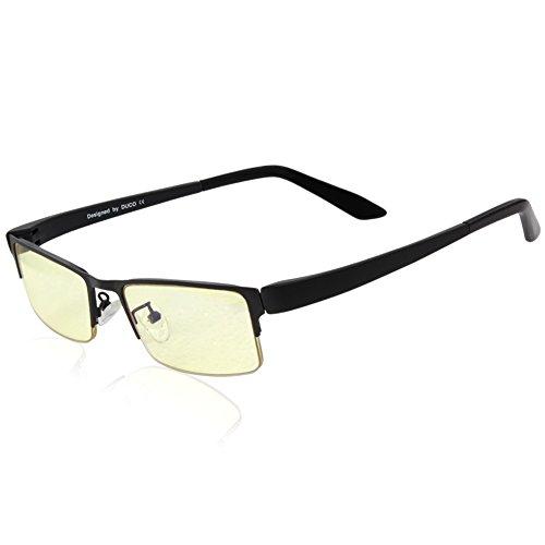 Duco Optik Blaufilterbrille Blaues Licht und UV Schutzbrille Bildschirmbrille fortgeschrittene Gamer Gamingbrille Computerbrille mit Bernsteinglas...