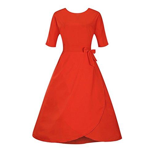 Lihaer Vestito anni '50 Donna Elegante Cerimonia Cocktail Abito 1/2 Manica Abiti Vintage Arancia