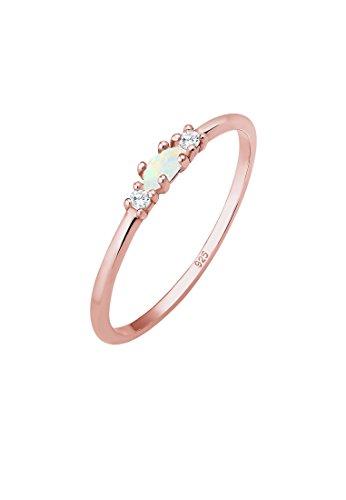 Elli Ring Damen Vintage mit Zirkonia Kristallen und Opal in 925 Sterling Silber Rosé vergoldet