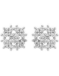 Voylla Yellow Gold Stud Earrings Embellished With CZ Stones For Women