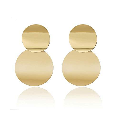 Eudola Damen Ohrringe Mode Ohrringe Vintage Metall Disc Cutout Ohrstecker Geometrische Runde Ohrringe (Gold 3)