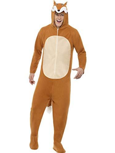 n Männer Damen Kostüm Plüsch Fuchs Fox Fell Einteiler Onesie Overall Jumpsuit, perfekt für Karneval, Fasching und Fastnacht, L, Braun ()