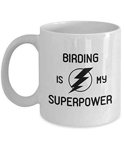 Birding Is My Superpower Coffee Mug Watcher Coworker Fiend Gift Hobby Travel Cup Present
