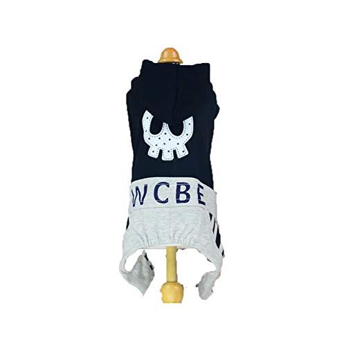 Hund Pet Sportswear, Haustier Hund vierbeinige Kleidung Vierbeinige Kleidung gedruckt Casual Sportswear XS S M L (Color : Black, Size : S)
