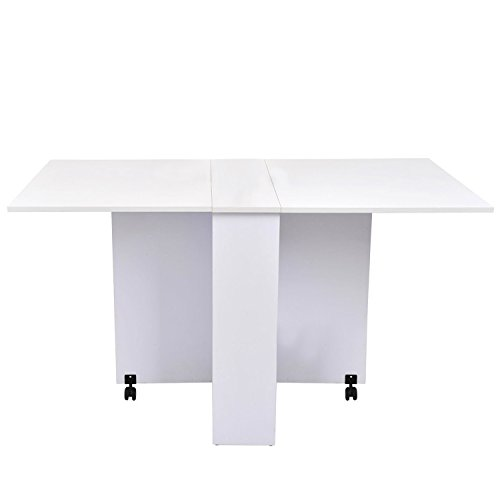 Mesa plegable de madera con ruedas comedor auxiliar cocina escritorio Blanco