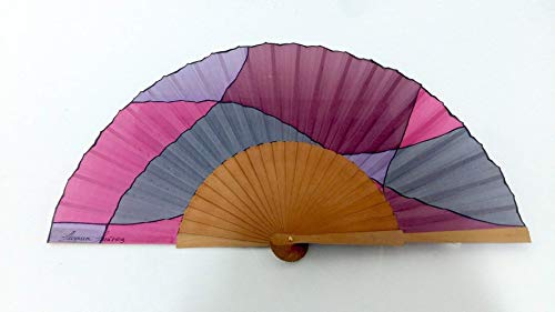 Abanico pintado a mano- Abanico artesano- Abanico español- Abanico rosa.-Abanico regalo. Abanico...