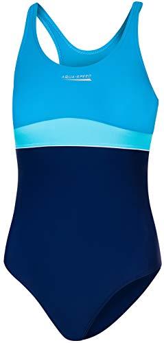 Aqua Speed Emily Badeanzug | Mädchen | Teenager | 134-164 | UV-Schutz | Elastisch | Blickdicht | Chlorresistent 140 Navy-Turquoise-Light Turquise