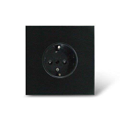 EU Standard Wall Power Socket Tempered Crystal Glass Panel 16A Wall Outlet 250V (schwarz) -