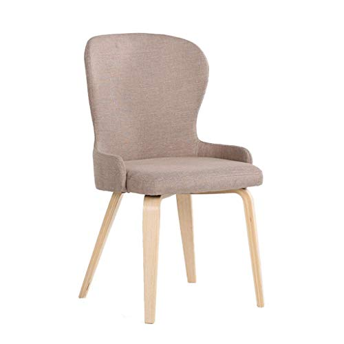 Eeayyygch XX Massivholz Esszimmerstuhl, Konferenztisch und Stühle Café Lounge Stuhl zu Hause Schlafzimmer Stoff Balkon Stuhl H97cm (Farbe : Khaki)