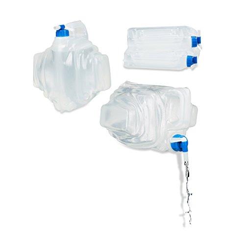 Relaxdays Wasserkanister Camping 4 St. 7,5 L, Haltegriff, Eckig, Trinkwasserkanister BPA frei mit Hahn, Lebensmittelecht