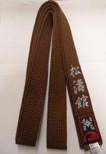 Braungurt bestickt mit Shotokan (Bestickung in silber) Karategürtel braun bestickter Karategurt