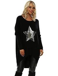 Laetitia Mem Black Ribbed Sequin Star Oversized Slouch Jumper e106871db