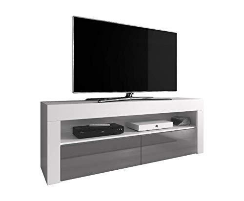 "E-Com - Meuble TV ""Luna"" 140 cm Blanc Mat Avec Façade Grise Brillante (Sans Lumières LED RGB)"