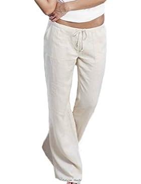 Suvotimo Femme lche Jambes Larges Taille Haute Pantalon Plus la Taille