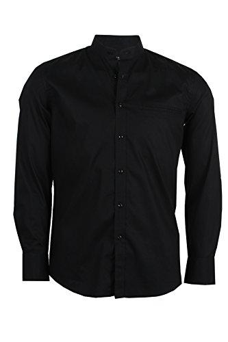 Camicia coreana nera, xl-43/44