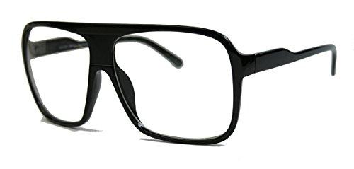 Old School Fashion Brille Nerdbrille 80er Jahre Flat Top Streberbrille F7 (Schwarz)