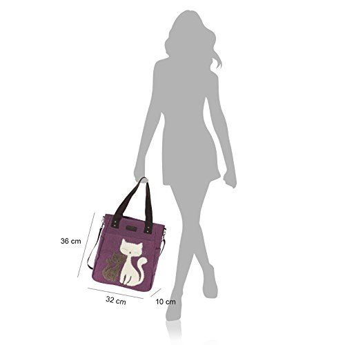 Damen Shopper Henkeltasche Canvas Umhängetasche Schultertasche Handtasche Farbwahl OTK222X grau