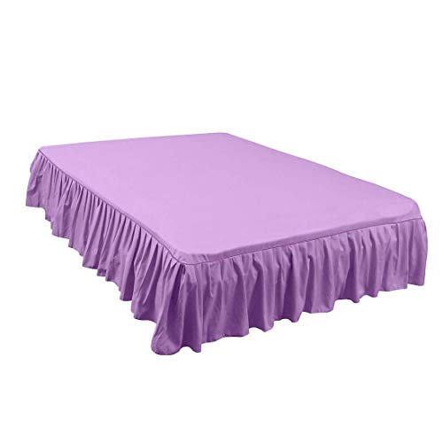 ZCHXD Bed Skirt Brushed Polyester Pleated Styling, with 14 Inch Drop Purple Queen Size Pleated Drop