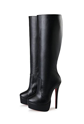 HeiSiMei Damen High-heeled Stiefel / Stiletto-Fersen / Over-the-Knie-Stiefel / runde Zehe / Dicke untere wasserdichte Plattform / Office & Karriere / Party & Abend / Hochzeit / Kleid / Super High Heel BLACK-48