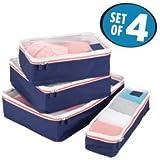 mDesign Set da 4 Organizer valigia – Modulo organizer per borsa e bagaglio a mano – Porta abiti da viaggio in rete e poliestere – blu, bianco e arancione