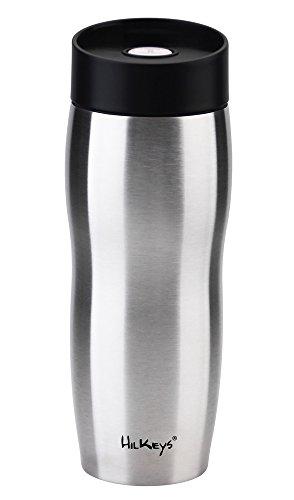 HilKeys Thermobecher 360ml Druckverschluß zerlegbar schwarz Edelstahl doppelwandig