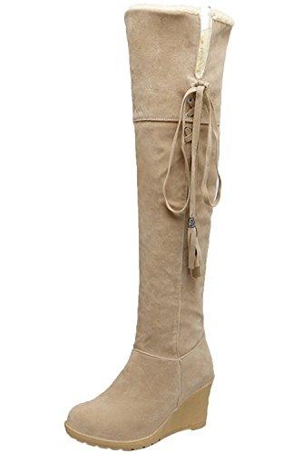 Damen Knie Hohe Stiefel Herbst Winter Casual Schnüren Keilabsatz Bequem Warme Lange Stiefel Von Bigtree Beige 38 EU