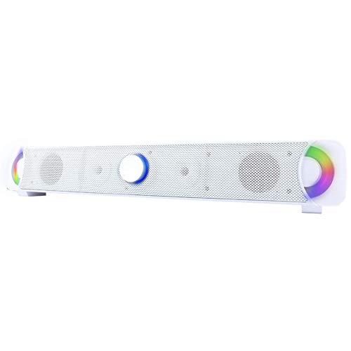 YHML Bluetooth 4.0 Computer Speaker-Home Multimedia Wireless Speaker HiFi Subwoofer Audio Mit LED Colorful Movies, Musik und Computerspiel Knob Support Card,White