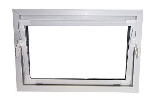 ACO 80cm Nebenraumfenster Kippflügel Einfachglas Fenster weiß Kippfenster Keller, Größe Kippfenster:80 x 40 cm