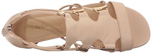 Bella Vita Isla Femmes Large Cuir Sandales Compensés Nude