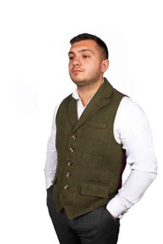 Harvey Parker Herren-Weste Galloway, im Country-Stil, Karo-Muster, Tweed, für Jagd, Schießen, Reiten Gr. XX-Large, olivgrün